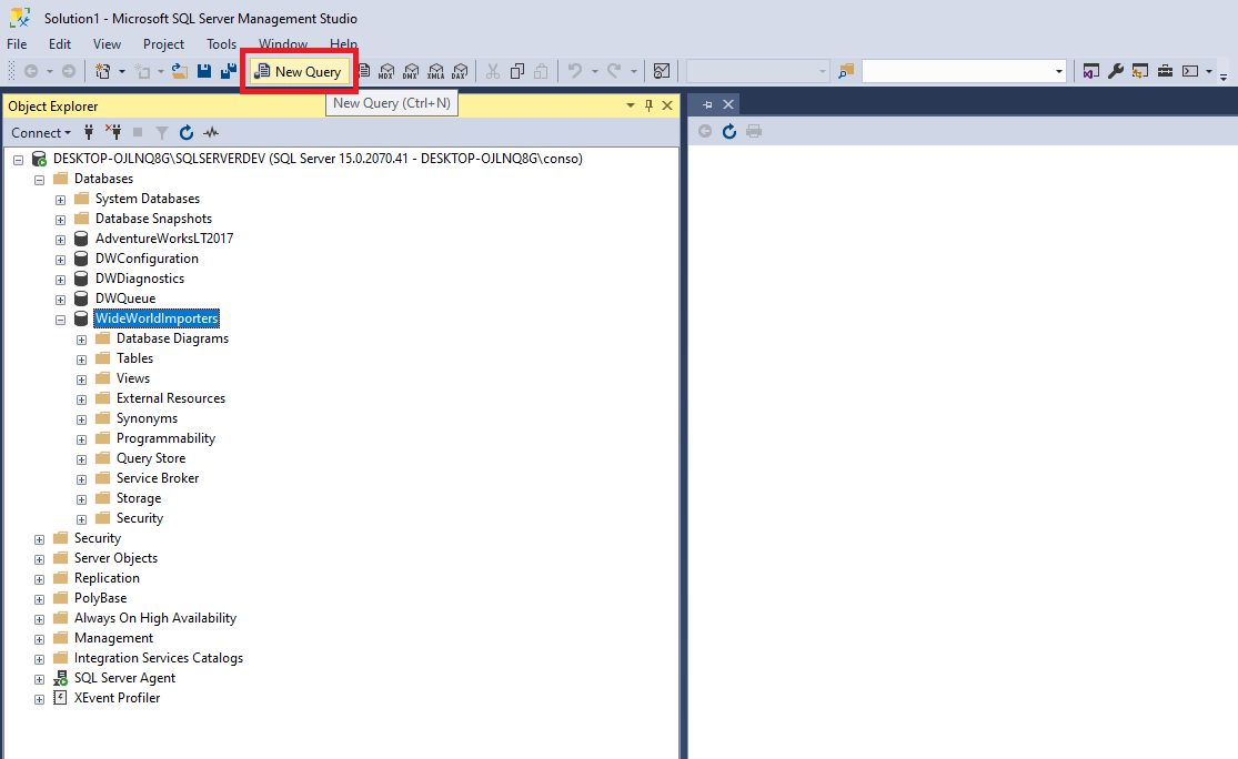 Query design in ssms Step 1